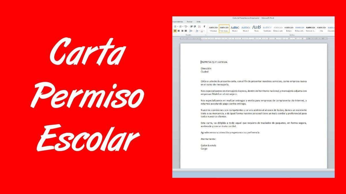 Ejemplo de carta de permiso escolar