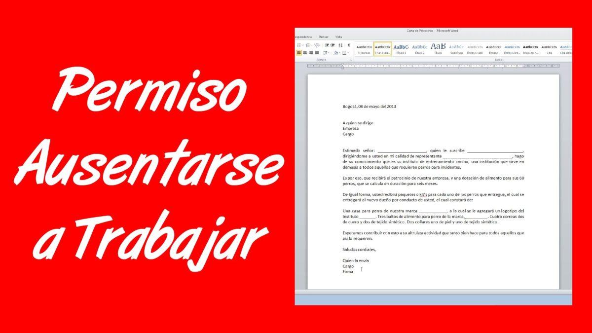 Ejemplos de carta de permiso laboral